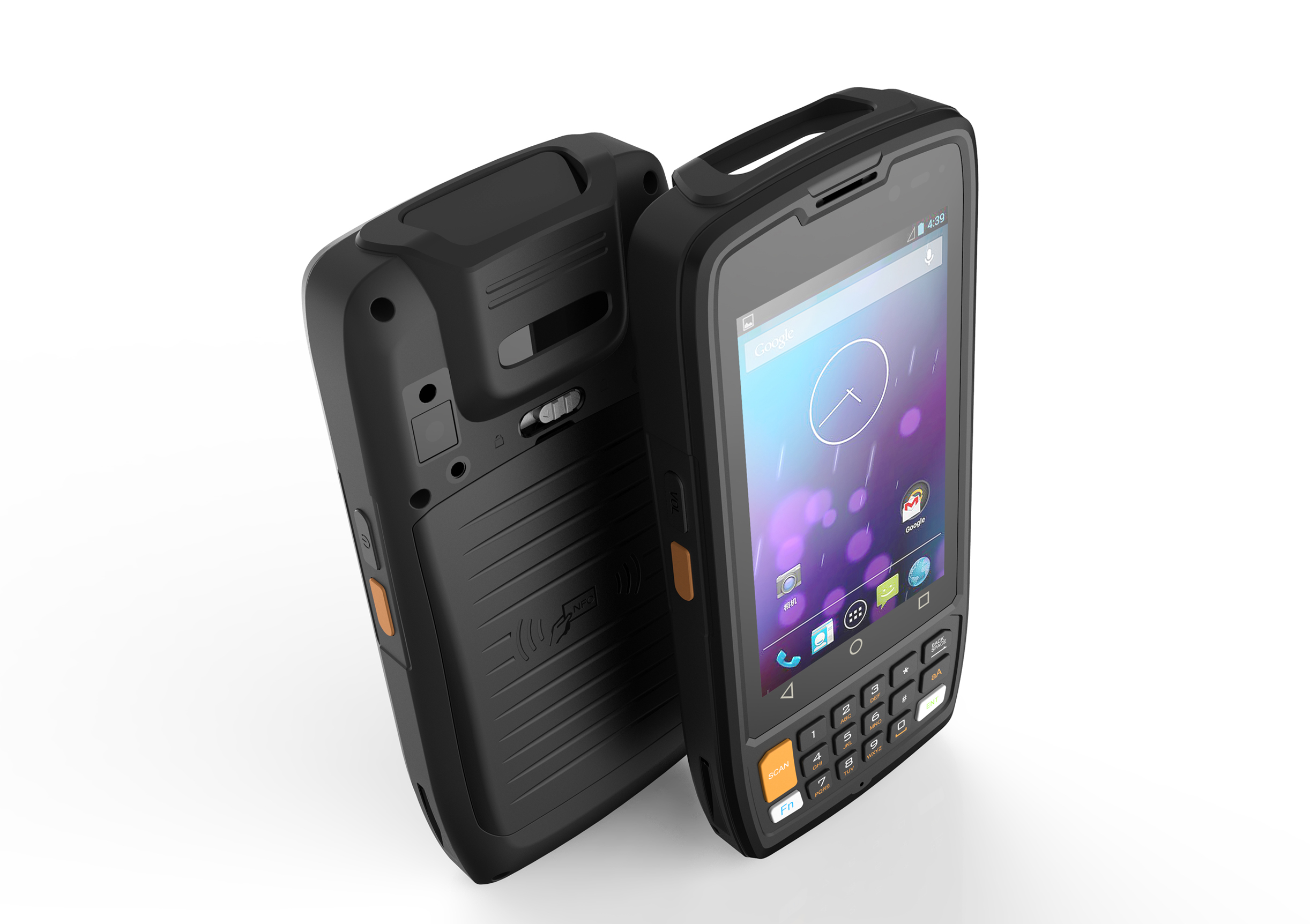 Handheld android device RuggedT H4 front and back look