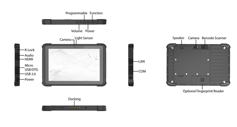 Specification detail of Rugged Tablet W1K